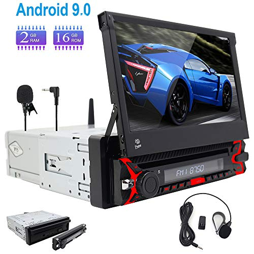 Een gratis externe microfoon!Android 9.0 Single 1 Din Auto Stereo Touch Screen Hoofd Unit Autoradio Ondersteuning DAB Radio WIFI 3G/4G Afstandsbediening Bluetooth GPS Sat Nav USB SWC OBD2 AM/FM Radio