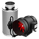 VIVOSUN 6 Inch 390 CFM Inline Duct Fan with 6 Inch Carbon Filter Odor Control with Australia Virgin...