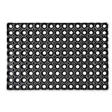 Relaxdays ? Felpudo Antideslizante para la Entrada de su hogar Hecho de Goma/Caucho con Medidas 40 x 60 cm Elemento Decorativo Resistente a la húmedad, Color Negro