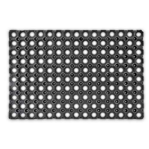 Relaxdays rubberen deurmat, 40 x 60 cm, antislip en weerbestendig, op maat te snijden bij regen en sneeuw, deurmat en schoonloopmat, voor binnen en buiten, zwart