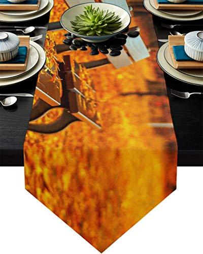 COMMER Camino de mesa, silla de madera en el parque bufandas decoración de mesa para fiesta de boda/ceremonia de graduación/banquete (33 x 228 cm) hojas de arce