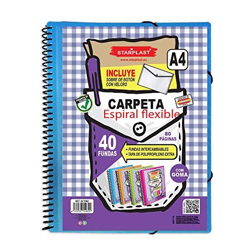 Starplast Carpeta Espiral flexible, 40 Fundas Transparentes, A4, Cierre de Goma Elástica, Tapas de Polipropileno,Sobre con Velcro, Portada Personalizable, para oficina, uso escolar, etc. Azul