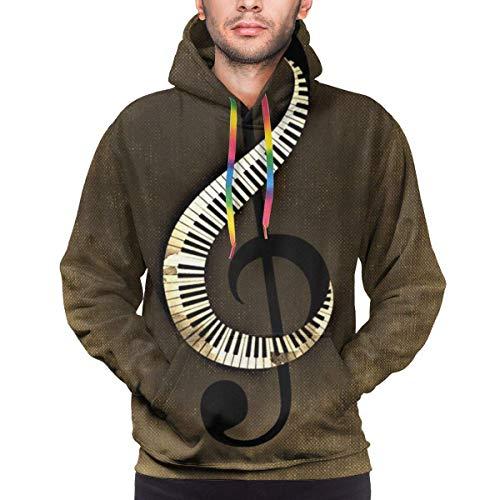 Tengyuntong Hombre Sudaderas con Capucha, Sudaderas, Music Clef Piano Keys Men's 3D Print Pattern Pullover Hooded Sweatshirt Fashion Hoodies