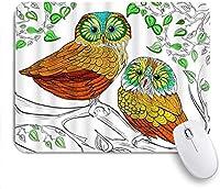 マウスパッド 個性的 おしゃれ 柔軟 かわいい ゴム製裏面 ゲーミングマウスパッド PC ノートパソコン オフィス用 デスクマット 滑り止め 耐久性が良い おもしろいパターン (フクロウ手描き枝葉動物アート漫画カラフルなかわいい)