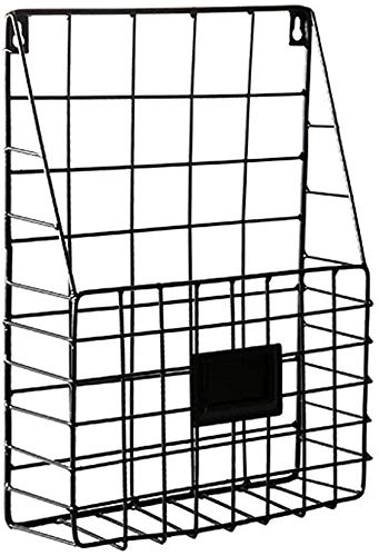 Desktop-bestand organizer File Shelf, Nordic Simple Iron Wall Opknoping Opknoping Muur stelling Muur Magazine Rack Magazine Opslag van data rack (Color : Black, Size : 26 * 8 * 36CM)