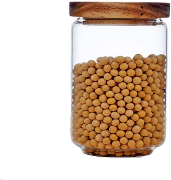 Keledz Glass Storage Jar with Special price for a limited time Wood Airtight B Ranking TOP4 Clear Sealed Lids