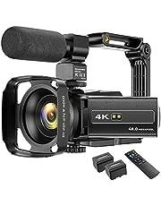 Videocámara 4K WIFI 48MP IR Visión Nocturna Cámara Vlogging Cámara 16X Zoom Digital Videocámara con micrófono, soporte para cámara y parasol para objetivo