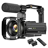 4K Video Camera Camcorder 48MP UHD WiFi IR Night Vision YouTube Vlogging Camera 3'' 270°Rotation Touch Screen 16X Digital Zoom Video Recorder with Microphone, Remote, Handheld Stabilizer, Lens Hood