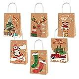 NCTCITY 12 Pcs Bolsa de Regalo Bolsas de Caramelos Tema Navidad Bolsas de Kraft con Asas Bolsas para Chuches Reutilizables Bolsas de Papel para Compras Alimentos Bodas Decoración de Fiestas