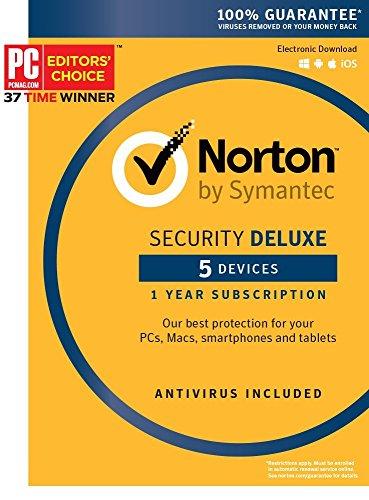 Symantec Norton Security Deluxe – 5 Devices – 1 Year Subscription [PC/Mac/Mobile Key Card]