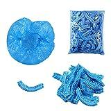 Aweisile Cuffie Doccia Monouso 100 pezzi Cuffia Doccia Cuffia da doccia usa e getta impermeabile a prova di polvere elastica Blu, per in viaggio Casa Hotel Hair Salon colorazione dei capelli