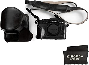 kinokoo Leather Camera Case for Fujifilm X-T30 Fujifilm X-T20  Fujifilm X-T10 and 16-50mm 18-55mm lens with shoulder strap and cleaning cloth  black