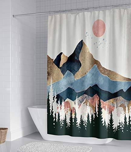 Sorcerer Custom Mountain Forest Tree Shower Curtain Marble Design Nature Landscape Waterproof Fabric for Bathroom Decoration Size 66x72 inch
