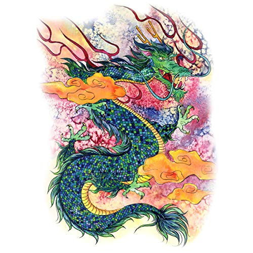 Supperb Temporary Tattoos - Gorgeous Green Dragon in Clouds, Dragon Temporary Tattoos