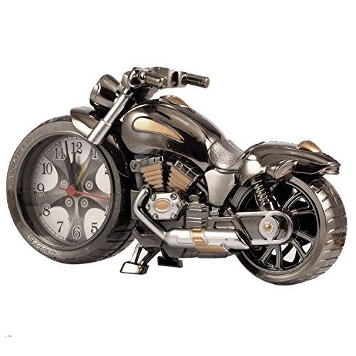 Vintage Retro Motorrad Style Studenten Alarm Clock Tisch Schreibtisch Time Clock Cool Motorrad Modell Home Office Regal Dekoration Neuheit Urlaub Kinder Erwachsene Geburtstagskinder Geschenk-Brown