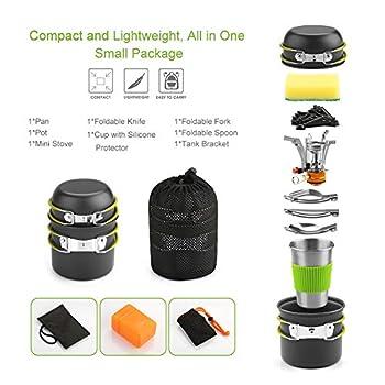 Awroutdoor Multi-PCS Mini Kit de Casseroles Camping + Réchaud Camping Pot Poêle, Durable et Compact avec Tasse, Fourchette et cuillère pour Pêche/Survie/Randonnée/Outdoor/Pique-Nique