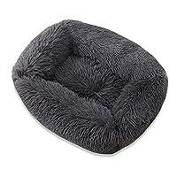 ペットベッド スクエアドッグベッドロングプラシムソリッドカラーペットベッドベッドキャットマット小さな中型のペットスーパーソフトウィンター暖かい睡眠マット (Farbe : Dark gray, Größe : 43x35x20cm)