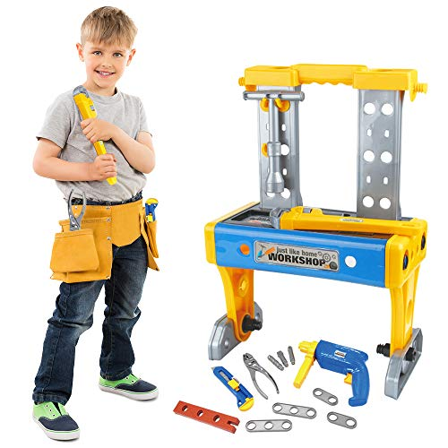 Gimsan Kids Tool Set 41 pcs, Kids Workbench, Toddler Tool Set, Kid Construction Tools, Toy Tool with Realistic Tools and Drill, Kid Toolbox for Age 3-7 yrs Old