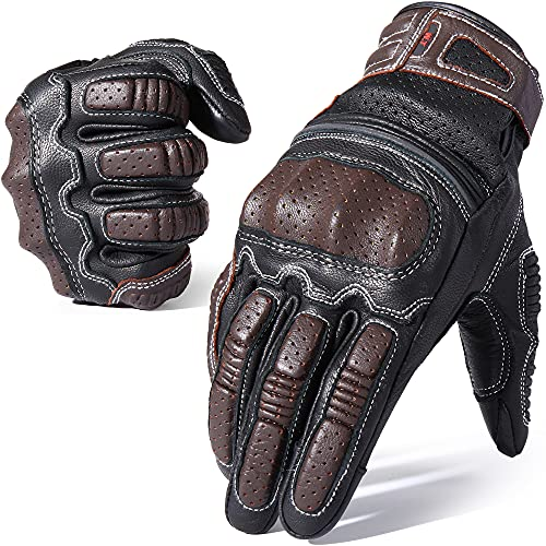AXBXCX Motorcycle Genuine Leather Gloves Premium Vintage Touchscreen Full Finger Gloves for Motorbike Motocross Racing Cycling ATV Camping Climbing Work Outdoor Sports Men Women Brown Medium