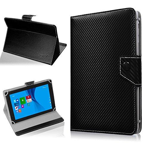 NAUC Tasche Hülle für ODYS Ieos Quad 10 Pro Schutzhülle Tablet Cover Hülle Bag Etui, Modellauswahl:Schwarz Carbon-Erscheinungsbild Magnetverschluss