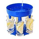 Newegger 6 Shot Glass Dispenser and Holder, Multiple Shot Glass Dispenser for Filling Liquids, Cocktail Dispenser, Carrier Liquor Dispenser Gifts, Perfect for Christmas Carnival, Party (Blue).