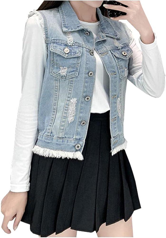 Ladyful Women's Classic Crop Ripped Denim Vest Sleeveless Jean Coat Jacket