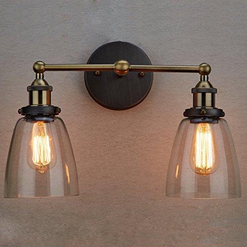 claxy Antique Décoration murale 2 ampoules Lampes verre transparent Appliques dans keramit Version (sans Bulb)