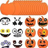 Outus 16 Piezas Kit de Artesanía de Calabaza de Espuma de Halloween y 16 Piezas de Pegatinas de...