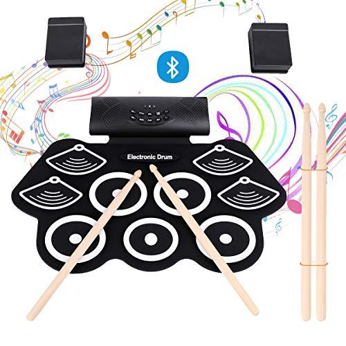 2020年最新版 電子ドラム ポータブルドラム Bluetooth機能付き 9個ドラムパッド 12デモ曲 7ドラム音色 9リズム 4スティック スピーカー内蔵 フットペダル メトロノーム機能 外部音源入力可能 充電式 練習 楽器 初心者 子供 日本語説明書 ZAMOCO