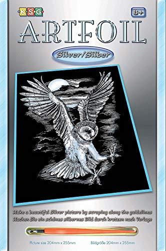 MAMMUT 8250537 - Artfoil, Kratzbild, Tiermotiv, Eule, silber, Komplettset mit Kratzbild, Kratzmesser und Anleitung, Scraper, Scratch, glänzend, Kratzset für Kinder ab 8 Jahre