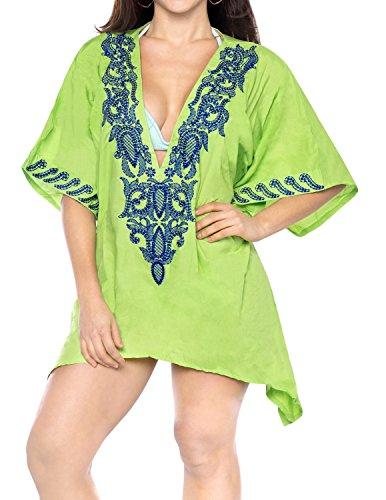 LA LEELA Playa Suave Cubierta rayón Amante hasta Boho caftán Tapa la túnica Las señoras Poncho Kimono Vestido Verano Informal Ropa Playa Noche Bordado, más Mujeres Verde