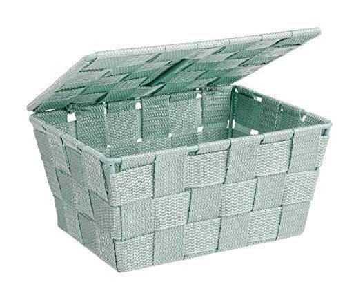 WENKO Aufbewahrungskorb mit Deckel Adria Mint Füllkörbchen Wäschebox Ablage
