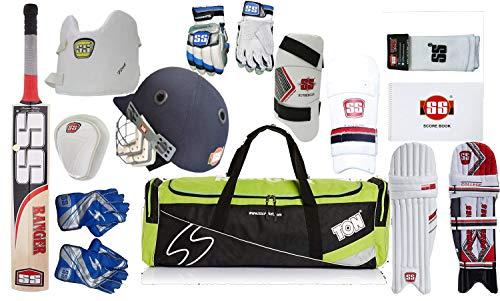 Ss Best Sports - Set Completo per Cricket, con Accessori Ranger, Mazza da Cricket, Guanti da battitura, Libretto segnapunti + gomitiera + parastinchi + Protezione pettorale + gomitiere per Cricket.