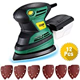 TECCPO Orbital Sander, Professional Retail Sander, 200W, 15,500 RPM, 12pcs Abrasive Papers, Dust Collection System - TAMS23P