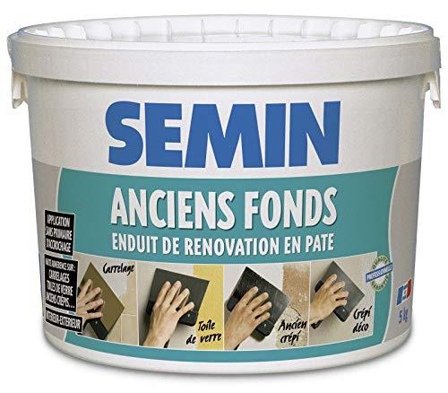 Semin A04921 Anciens Fonds, Enduit de Rénovation pour les Supports Irréguliers Spécial Toile de Verre, Carrelage, Peinture, Intérieur/Extérieur, Seau de 5 kg