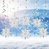 LOVEXIU Kit Fiocchi di Neve Decorativi 24Pcs,3D Fiocchi di Neve Argento Decorazion,Spirale Fiocco di Neve Appendere,Natale Casa Addobbi per Compleanno Frozen Dfeste Matrimonio