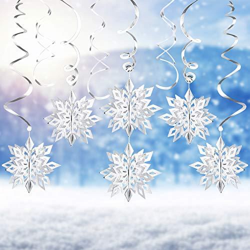 LOVEXIU 3D Copo de Nieve Plateado,24Pcs Copo de Nieve Tridimensional & Espiral Adorno Colgantes,Navidad Navideño Decoraciónes para Niños Cumpleaños Invierno Año Nuevo Navideña Fiestas Temáticas