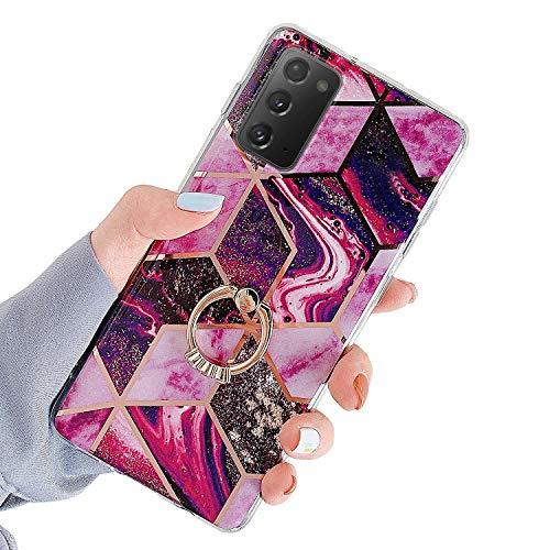 Herbests Kompatibel mit Samsung Galaxy Note 20 Hülle Handyhülle Glänzend Glitzer Bling Marmor Muster Silikon Schutzhülle Soft Stoßfest Handytasche mit Diamant Ring Halter Ständer,Rot Lila