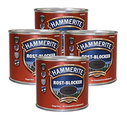 4 x 0,5L Hammerite Rostblocker Braun Anti-Rost Metallschutzlack gegen Rost Innen und Außen