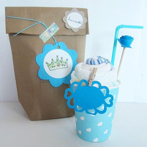 Idea Regalo Originale per Bebé   Milkshake fatto con Calzini in Cotone di marca (taglia 1-6 mesi) e Pannolino DODOT   Baby Shower Gift Idea   Tono Azzurro, Per Maschietti