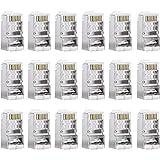 Sumind 50 Piezas Conductor Cat6 Conector RJ45 8P8C Blindado para STP Ethernet Network Cable Enchufe Modular
