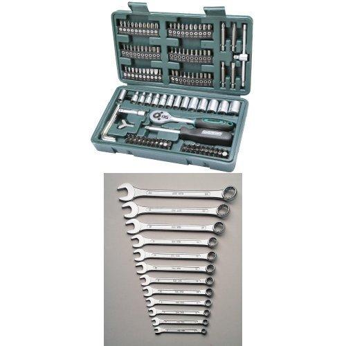 Mannesmann - M29166 - Set chiavi a tubo e inserti 130 pz. + Mannesmann - M 130-12DIN - Set chiavi ad anello e chiavi inglesi, 12 pz., 6-22 mm, CV, GS