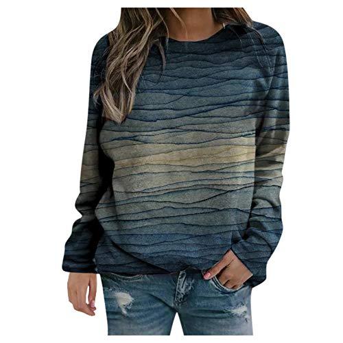 Frauen Pullover Casual Stripe Tie-Dye Print Sweatshirts Thermal Rundhalsausschnitt Langarm T-Shirts Loose Tops Bluse(XL,Marine)
