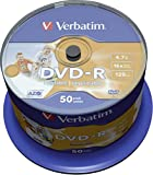 Verbatim DVD-R 4.7GB 16x Speed 120min Inkjet Printable DVD Discs Pack 50