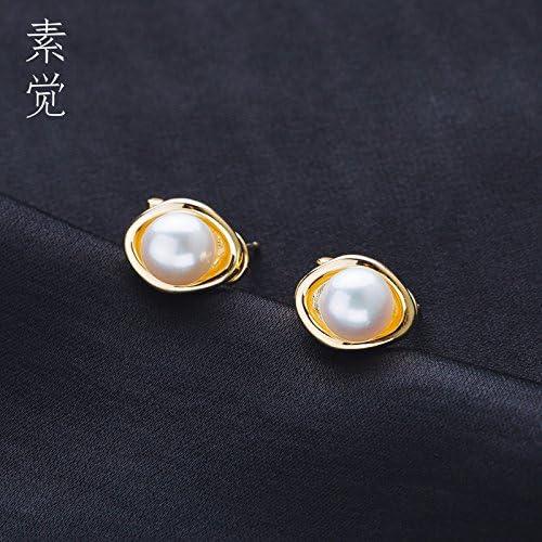 BAGEHAN S925 Silber überzogene Perlenohrringe Damen Schmuck Ohrringe, A