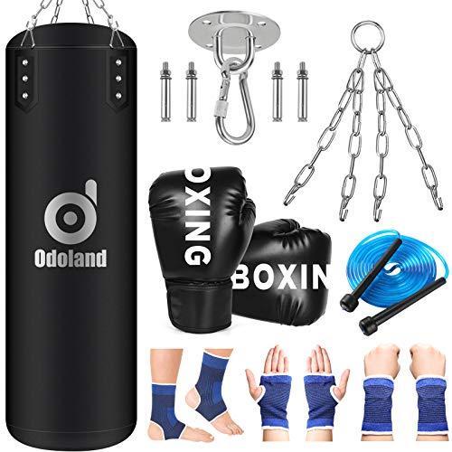 Odoland Saco de Boxeo, 80 CM Punching Bag Sin Relleno con Guantes de Boxeo Niños, Tobillera Muñequeras Deportivas, Cuerda...