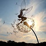 YAQIAN Garten-Silhouettenpfähle, dekorativer Metallpfahl Fee mit Löwenzahn-Blumenschild für Terrasse, Hinterhof und Outdoor-Dekorationen Gartenornamente