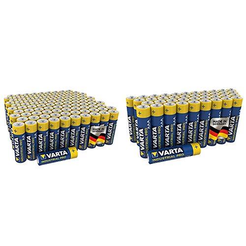 Varta Industrial Pro AA Mignon Alkaline Batterien LR6-100er Pack, umweltschonende Verpackung, Design kann abweichen & Industrial Batterie AAA Micro Alkaline Batterien LR03-40er Pack