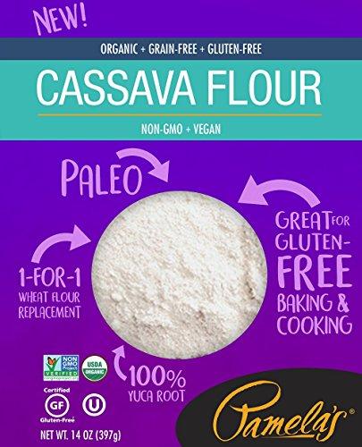Pamela's Products Organic Cassava Flour, Grain Free and Gluten Free Paleo Flour, 14 Oz, 6 Count