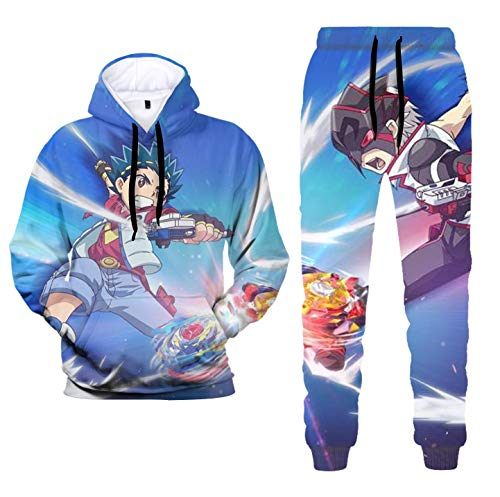 Kids 3D Print Bey-Blade B-urst Hoodies and Fashion Anime Hoodie Pants Causal Sport Suit for Boys Girls(4.L)